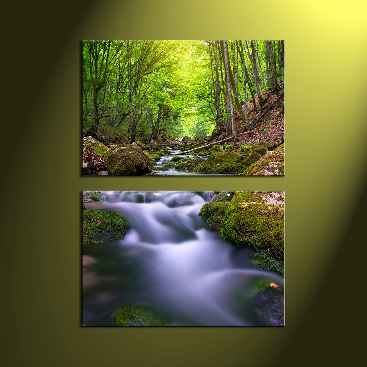 Waterfall Wall Art 2 piece green forest scenery canvas wall art