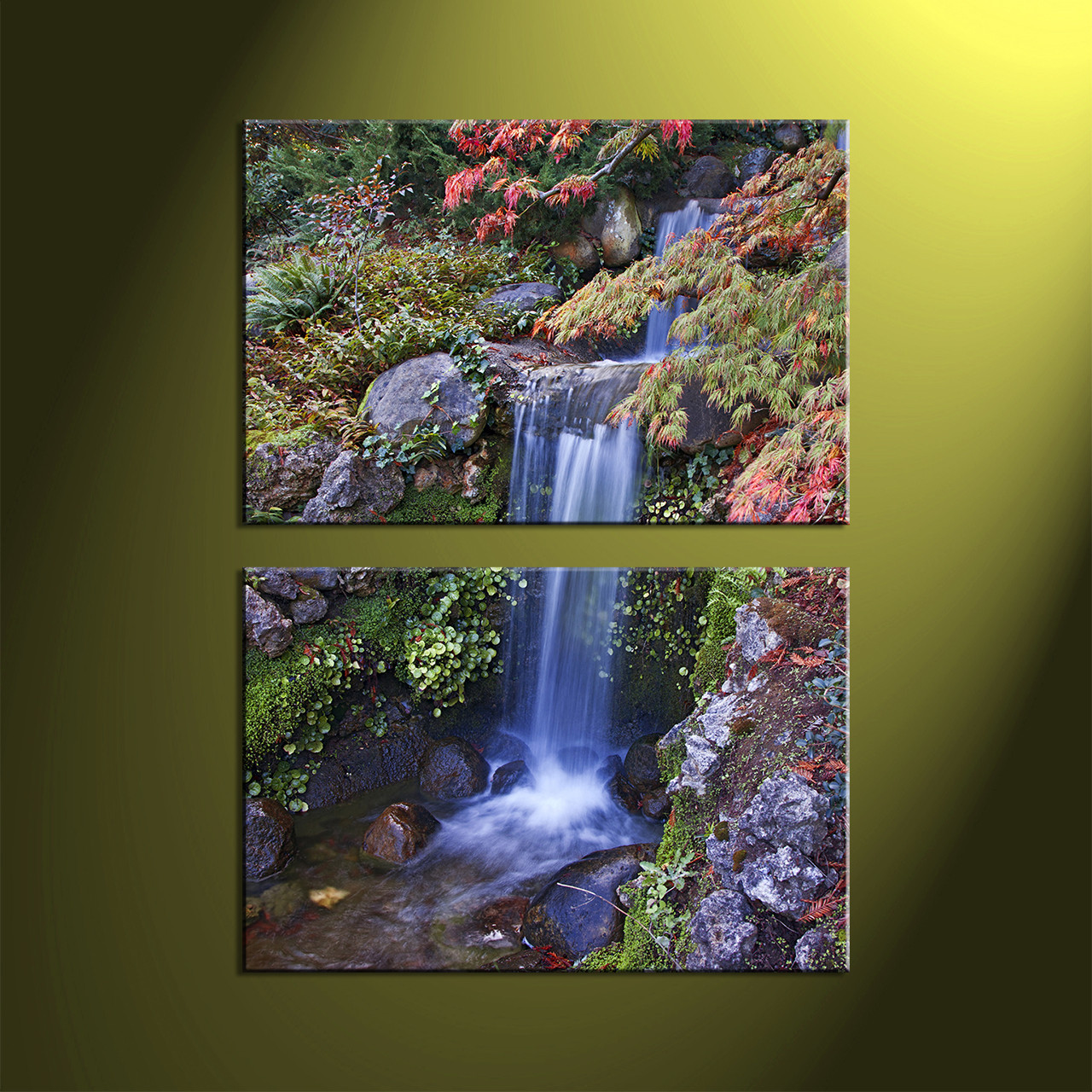 2 piece green canvas landscape scenery waterfall art for Waterfall home decor