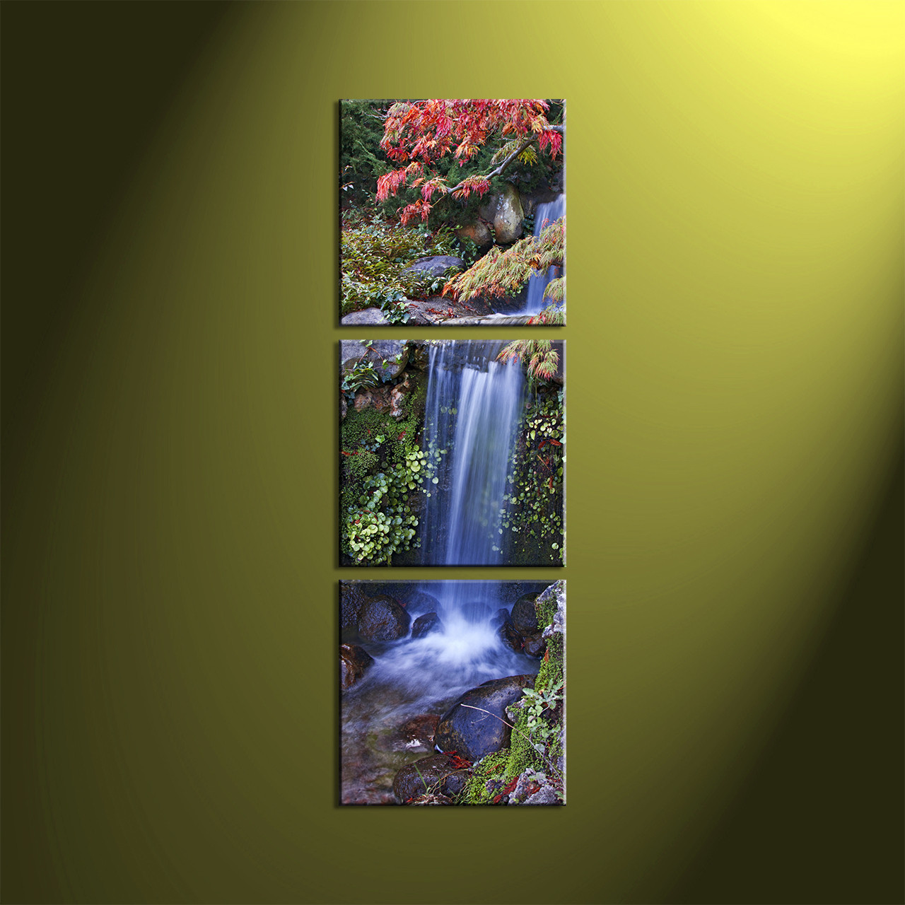 3 piece green canvas scenery landscape waterfall pictures for Waterfall home decor