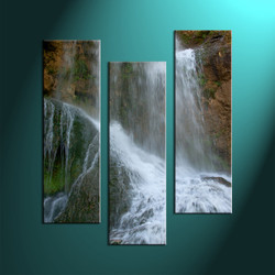 3 Piece White Canvas Waterfall Scenery Artwork