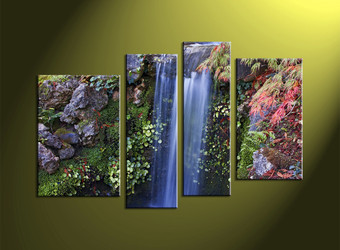 4 Piece Waterfall Green Scenery Canvas Wall Art