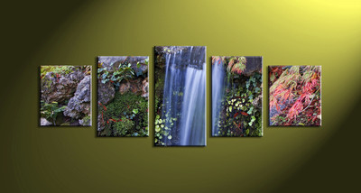 5 Piece Waterfall Green Nature Scenery Artwork