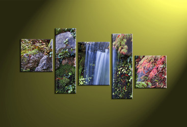 5 Piece Green Canvas Scenery Waterfall Wall Decor