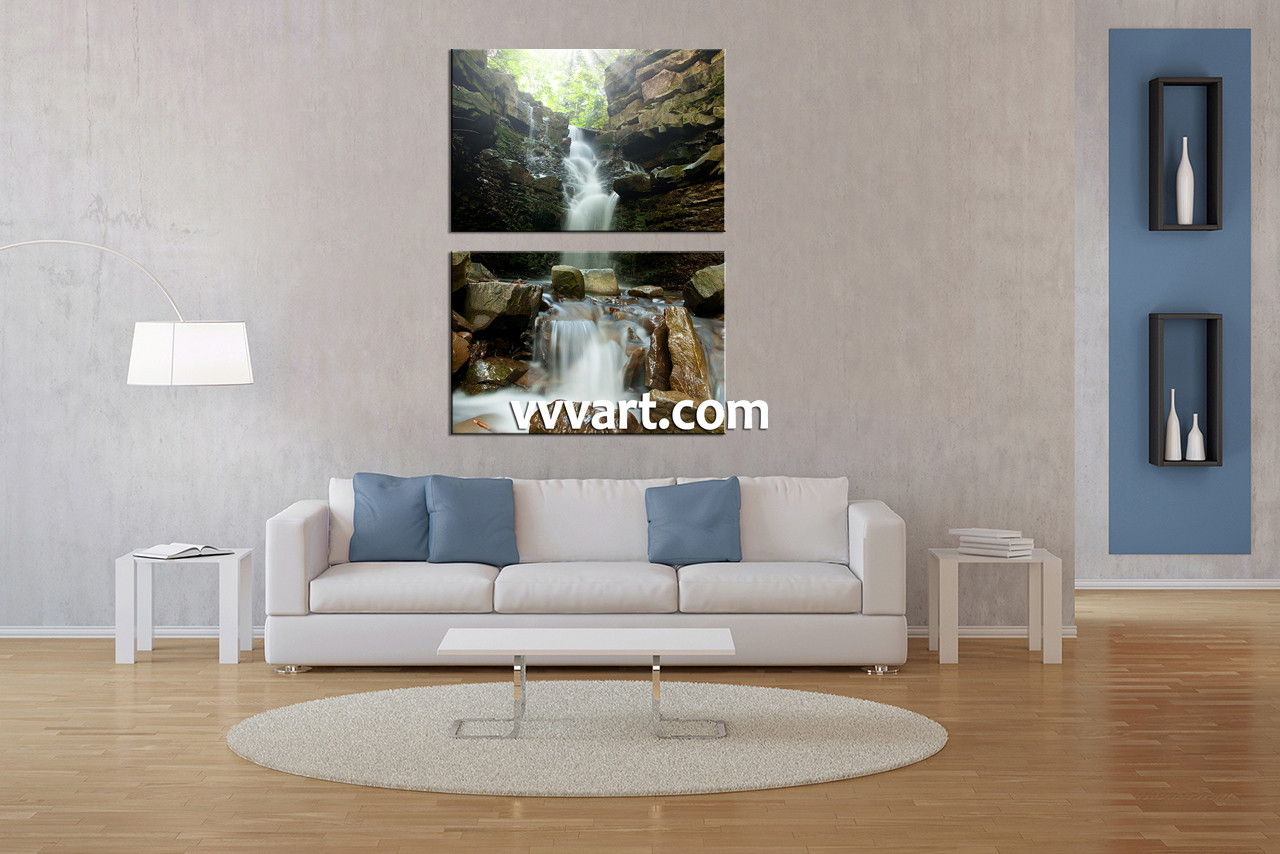 Large Vertical Wall Art 2 piece waterfall green scenery large canvas