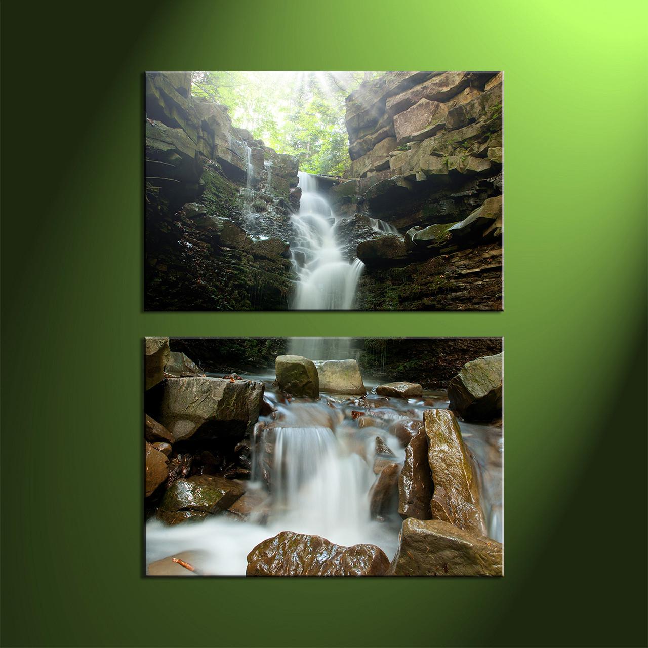 Waterfall Home Decor 2 Piece Waterfall Green Scenery Large Canvas