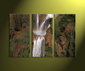 3 Piece Waterfall Brown Scenery Canvas Art Prints