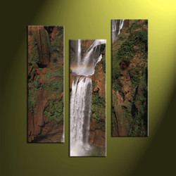 Triptych Waterfall Brown Scenery Huge Pictures