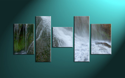 5 Piece White Waterfall Scenery Canvas Print