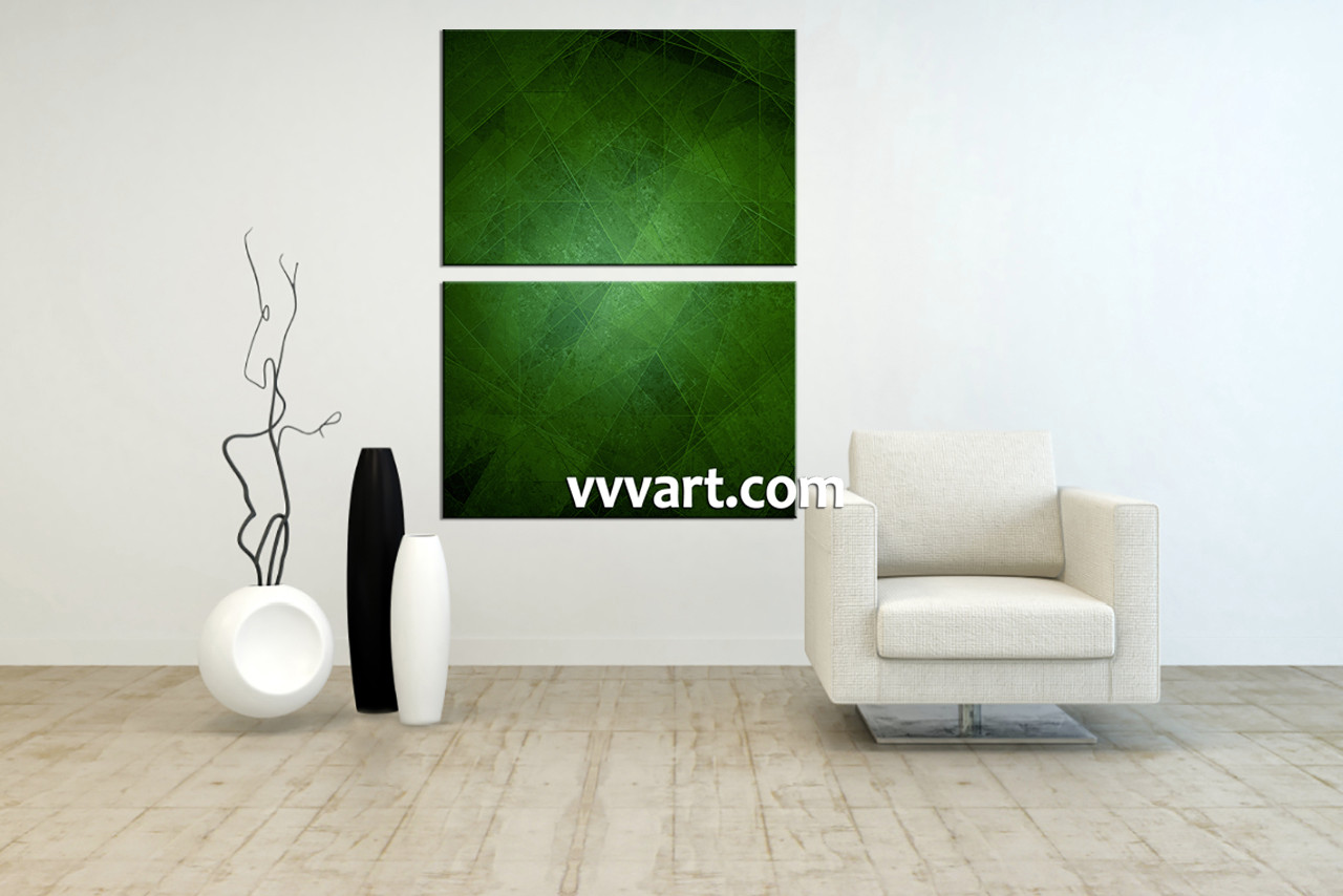2 Piece Canvas Green Abstract Wall Art