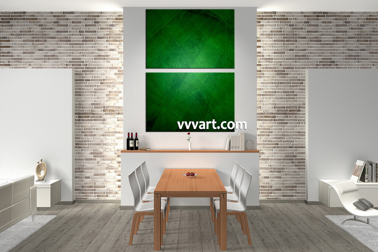 Large Vertical Wall Art 2 piece canvas green abstract wall art