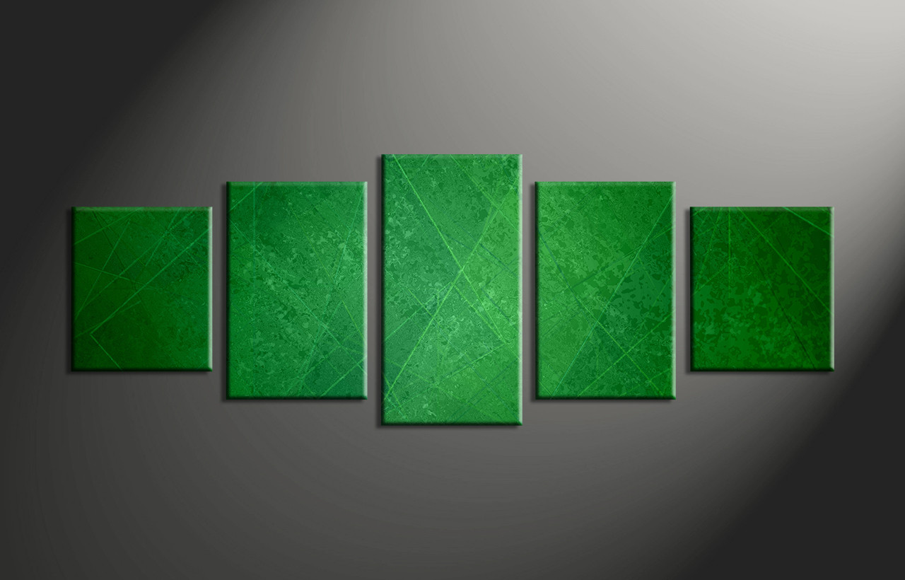 5 Piece Canvas Wall Art 5 piece green abstract group canvas
