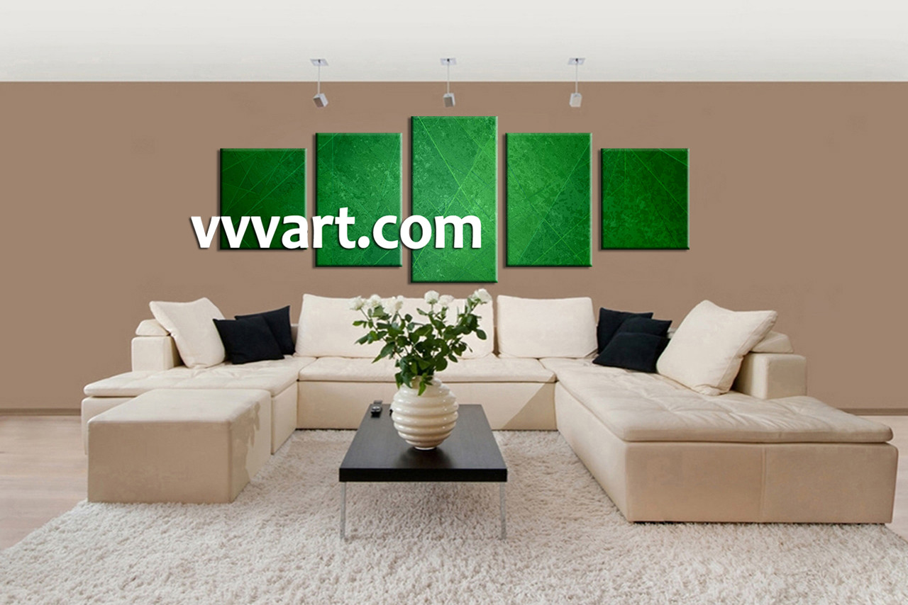 5 piece green abstract group canvas for Green wall art