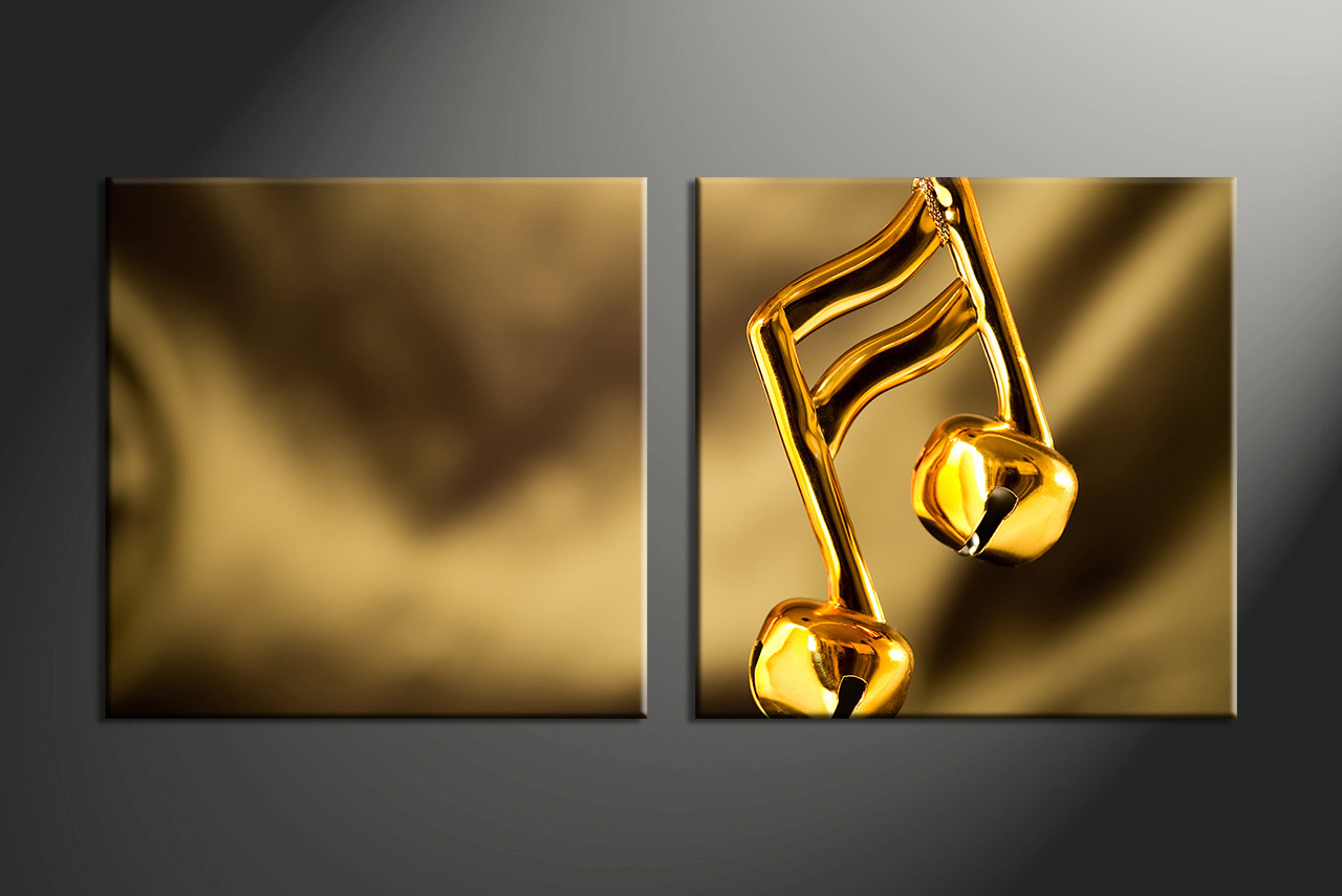2 Piece Gold Music Multi Panel Canvas