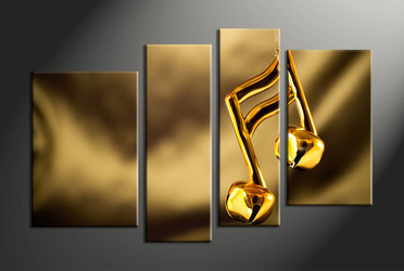 music large canvas, home decor,4 piece canvas art prints, note canvas print, gold canvas print