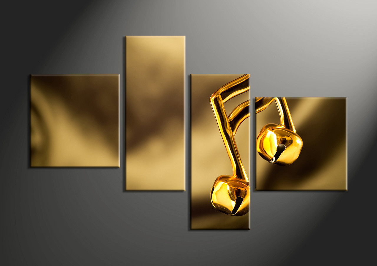 4 Piece Music Gold Huge Canvas Art