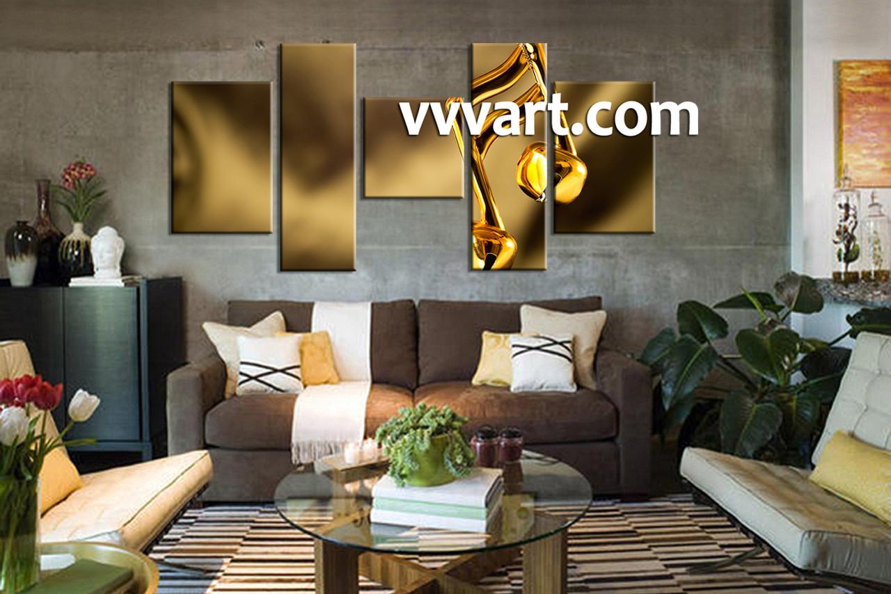 Gold Wall Art 5 Piece Yellow Canvas Music Multi Panel Art