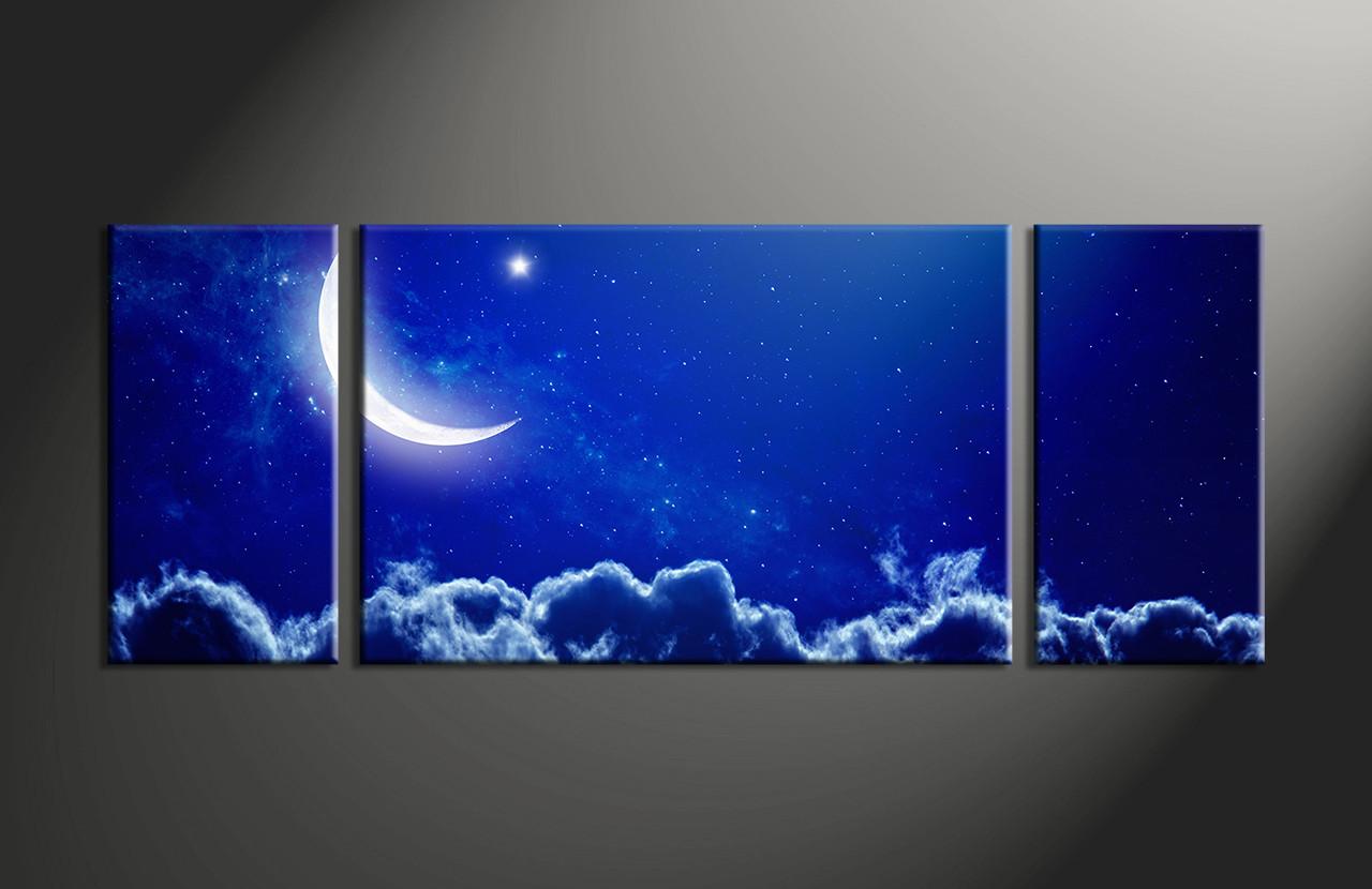 Smoke Blue Wall Decor : Piece blue sky landscape wall art