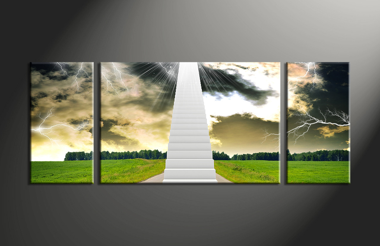 Multi Piece Canvas Wall Art 3 piece canvas stairs landscape canvas wall art
