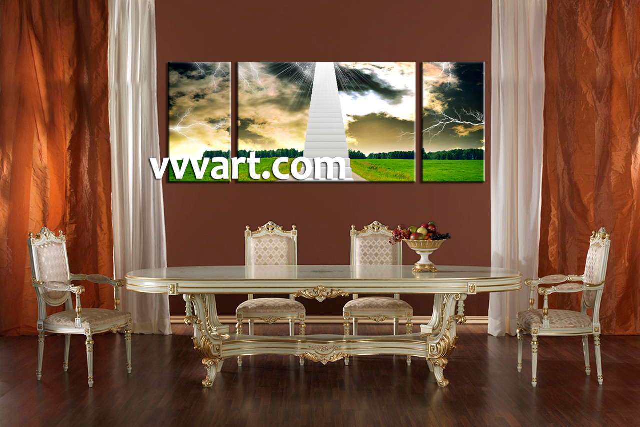 Dining Room Wall Decor, 3 Piece Wall Art, Scenery Multi Panel Art, Stairs