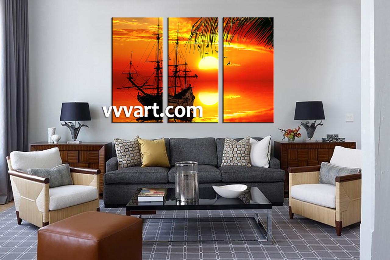 3 Piece Wall Art Shp Multi Panel Living Room Scenery