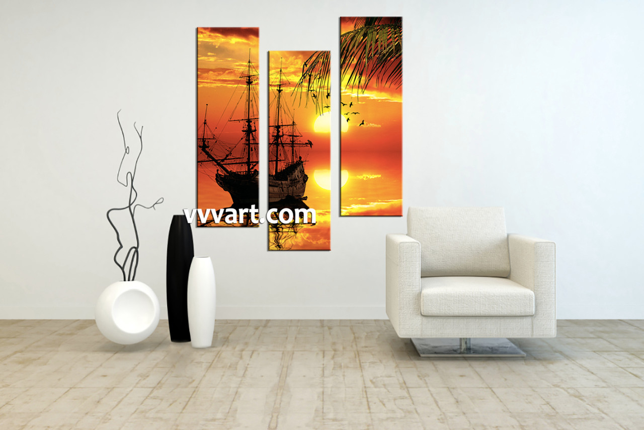 Triptych Wall Art 3 piece red sunset ship canvas art prints