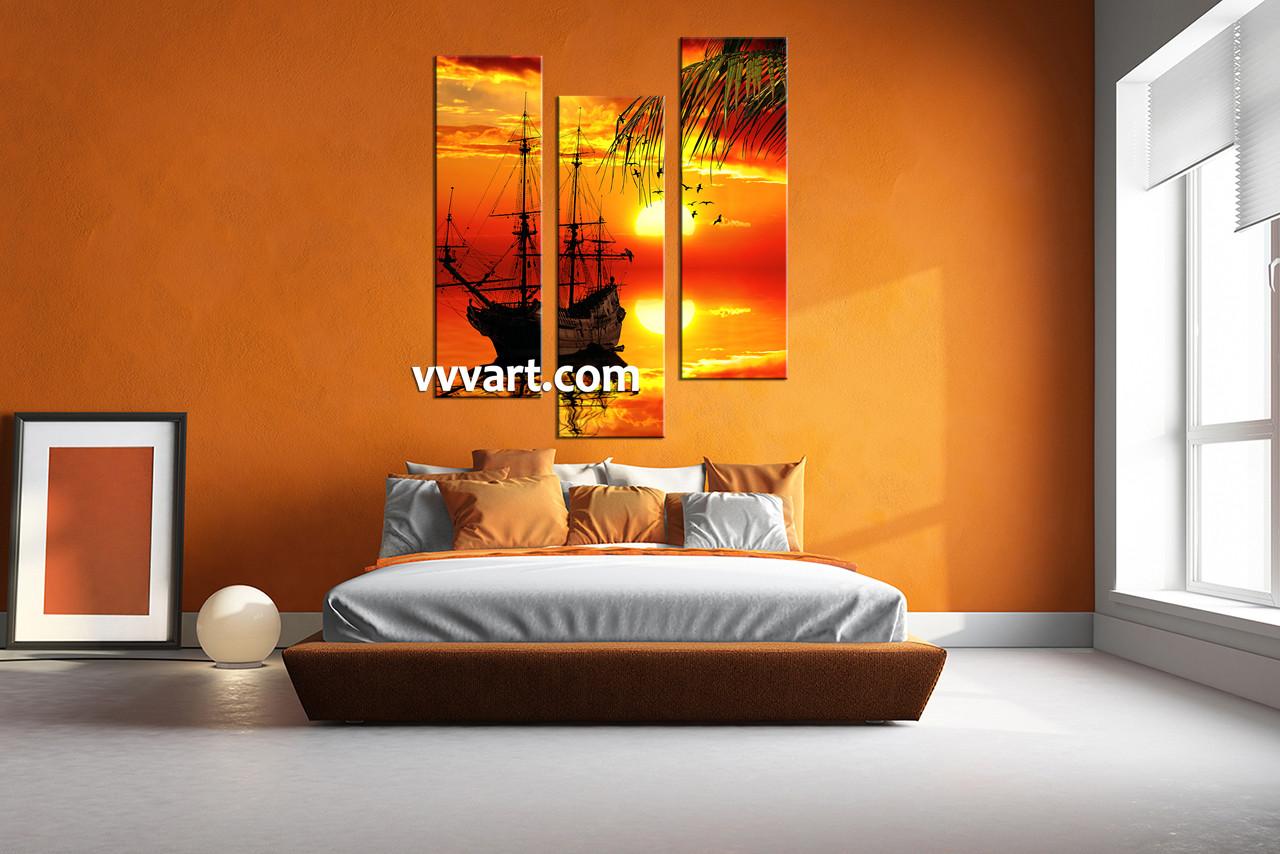3 Piece Red Sunset Ship Canvas Art Prints