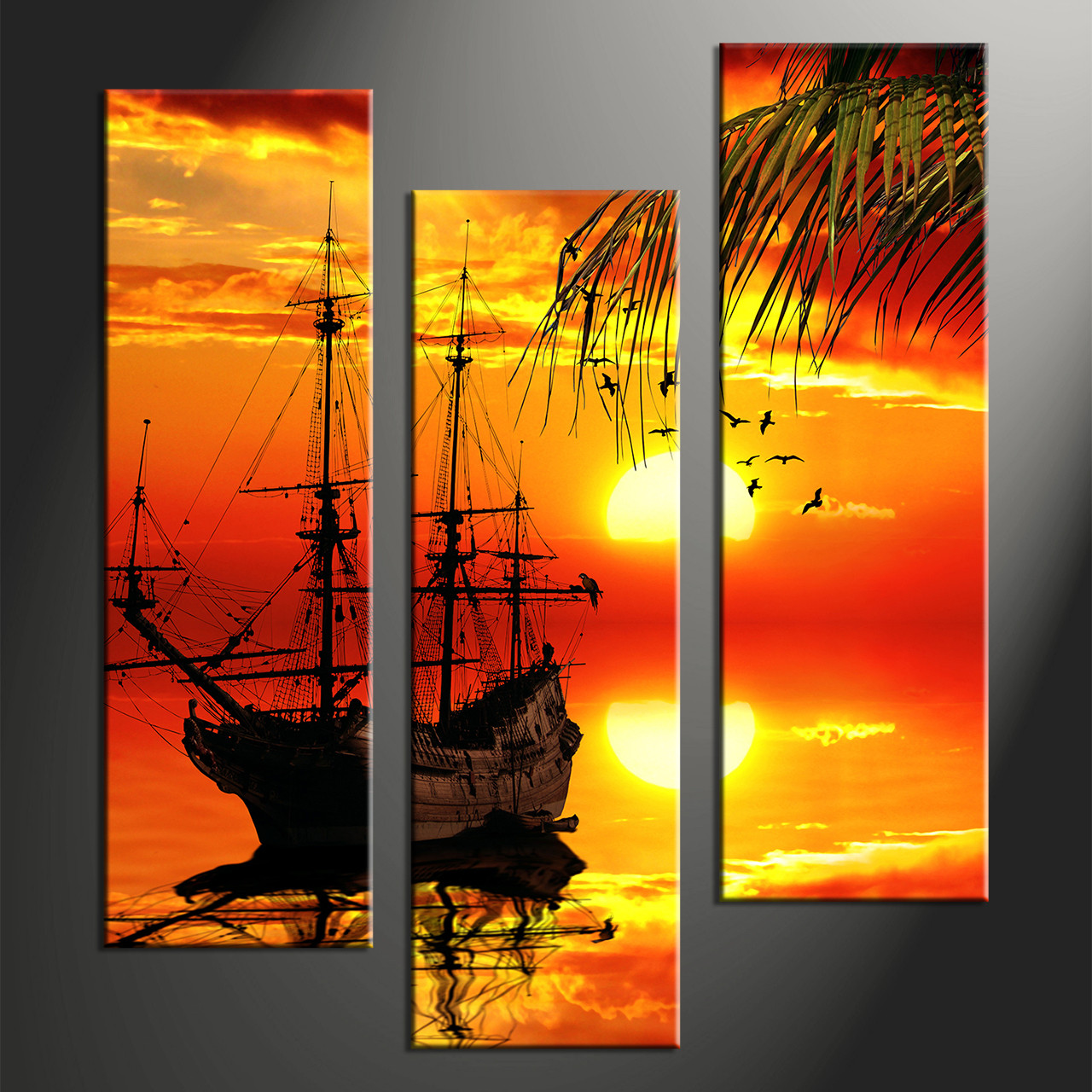3 piece red sunset ship canvas art prints. Black Bedroom Furniture Sets. Home Design Ideas