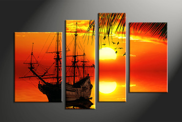Home Decor, 4 Piece Wall Art, ocean multi panel art, scenery canvas wall art, landscape canvas photography