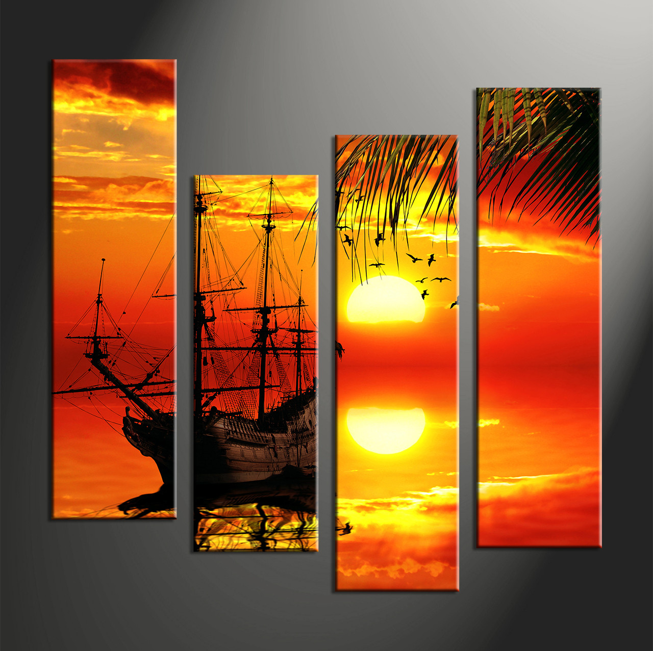 Wall decor orange beach : Piece red canvas landscape sunset wall decor