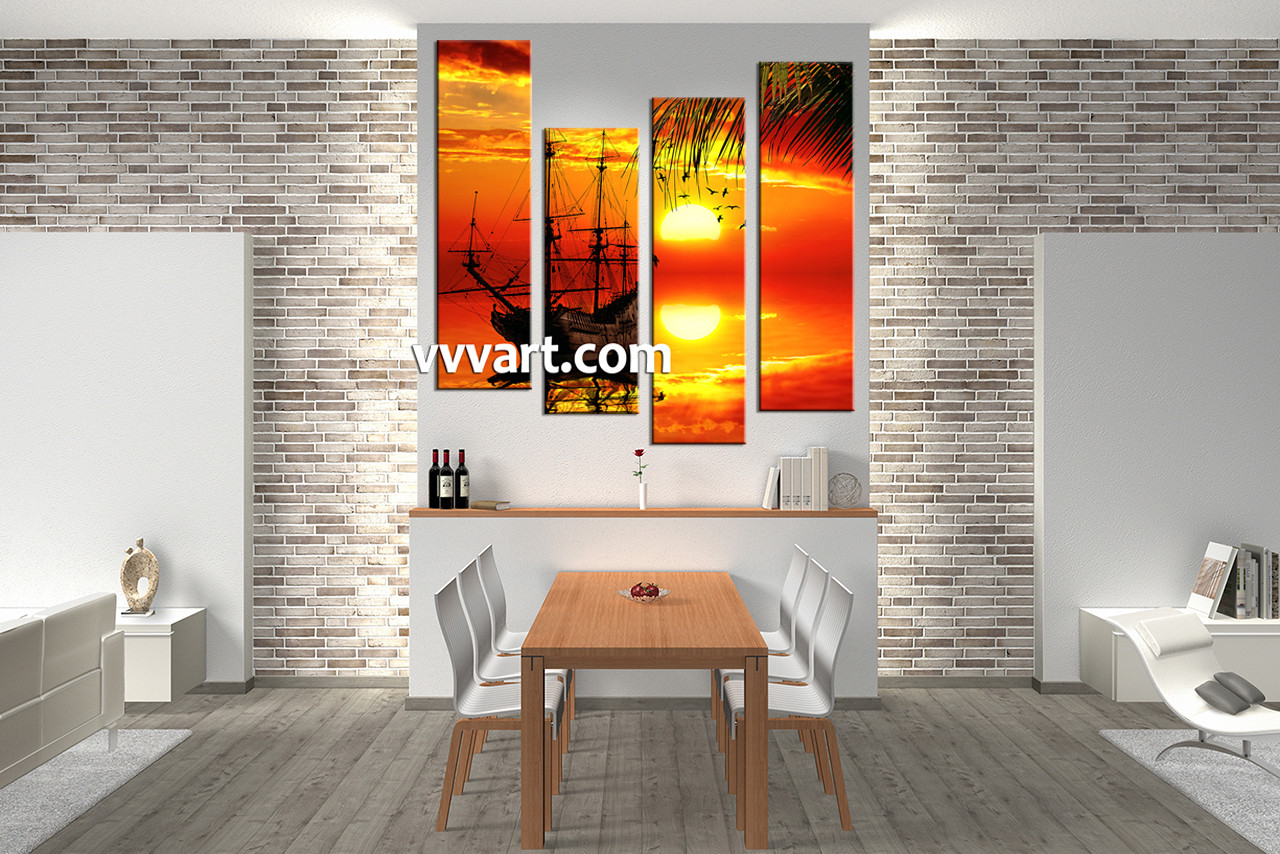 4 piece red canvas landscape sunset wall decor for Red dining room wall art