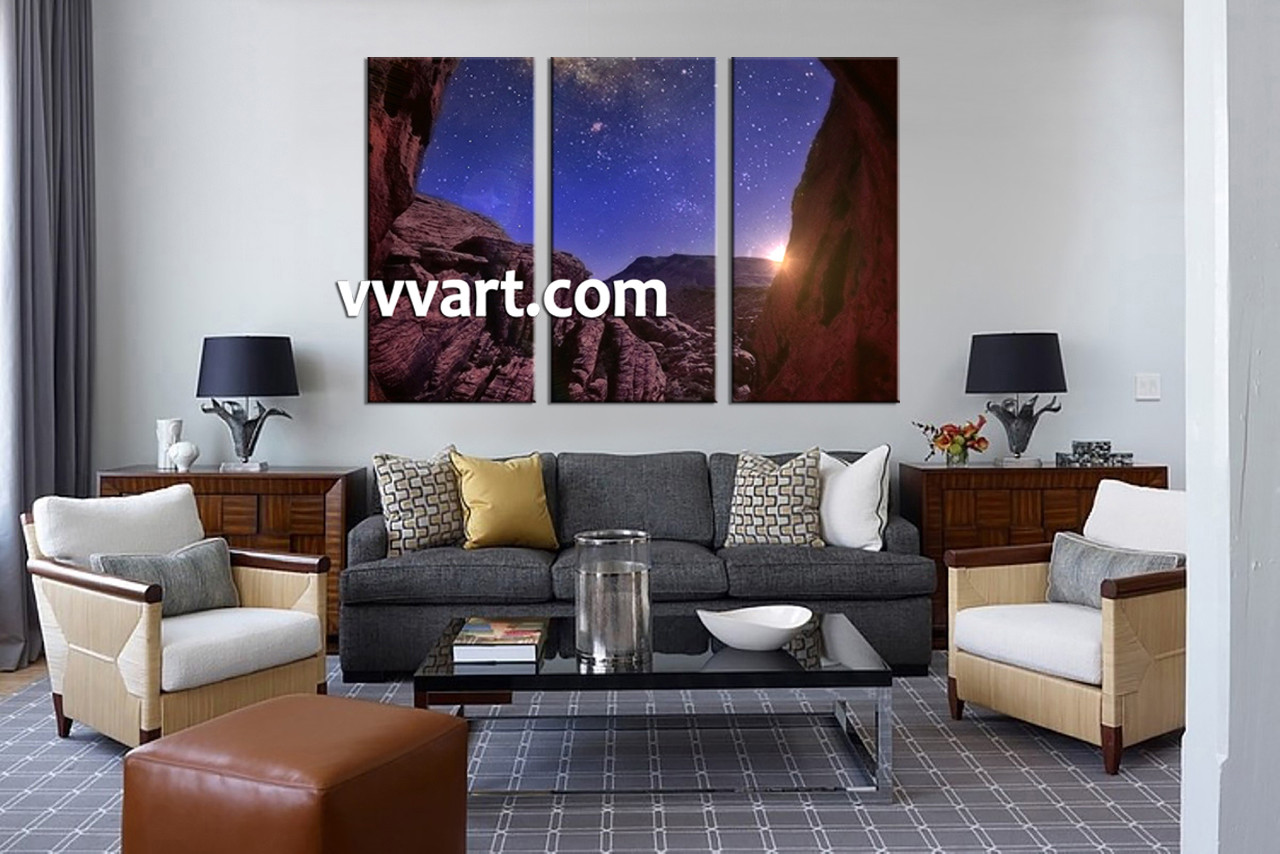 Multi Piece Canvas Wall Art 3 piece brown landscape stars canvas wall art