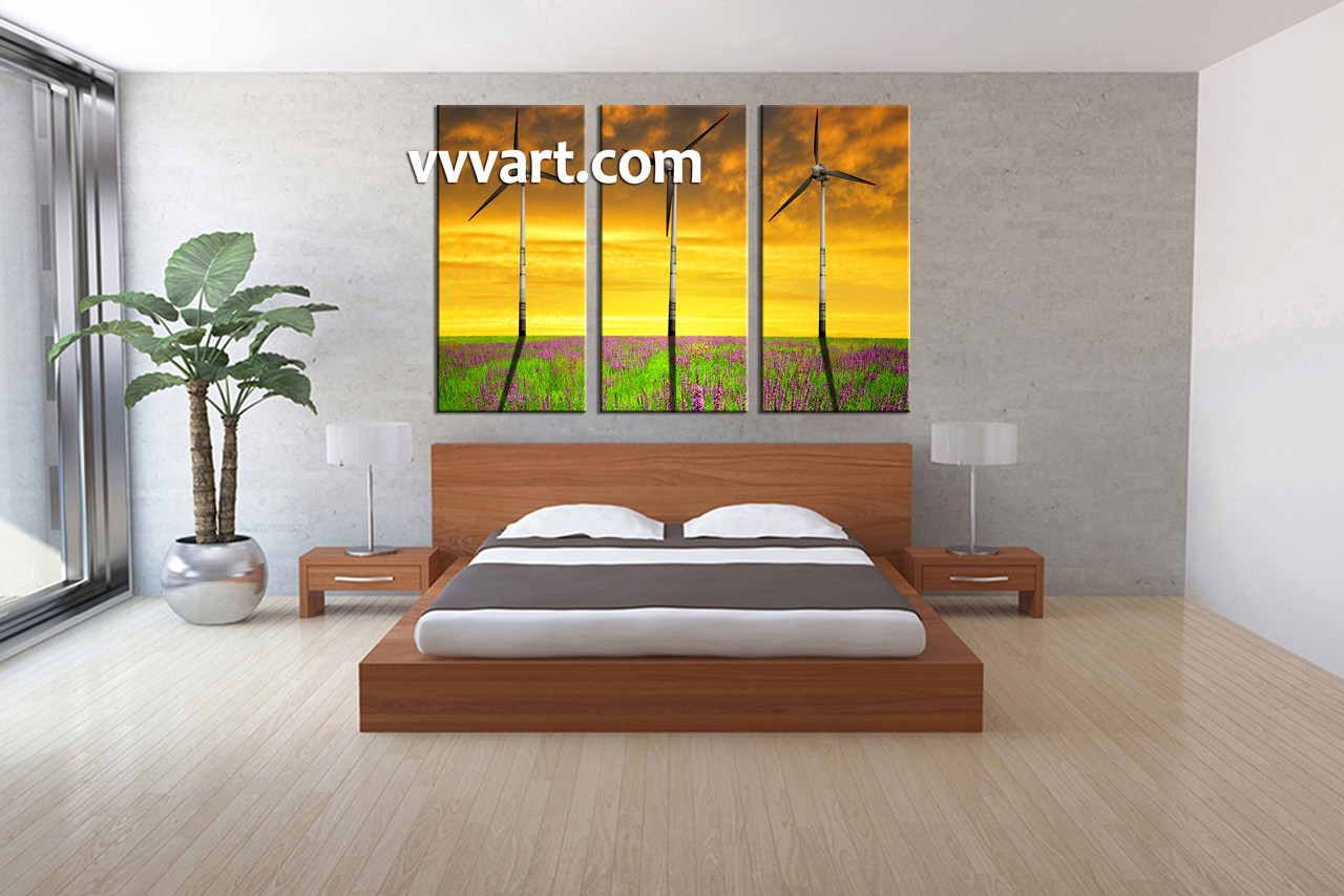 Triptych Wall Art 3 piece windmill yellow landscape canvas photography