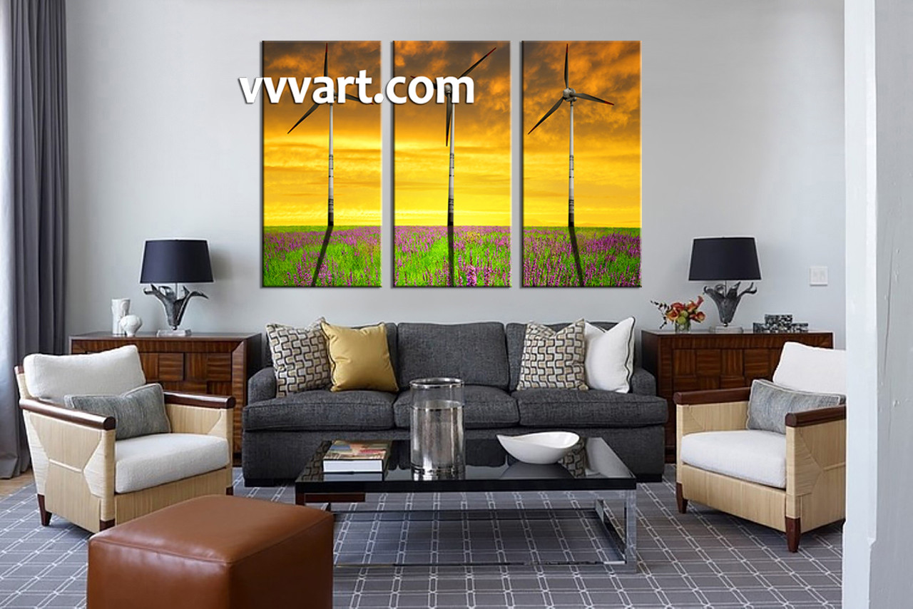 Windmill Wall Art 3 piece windmill yellow landscape canvas photography