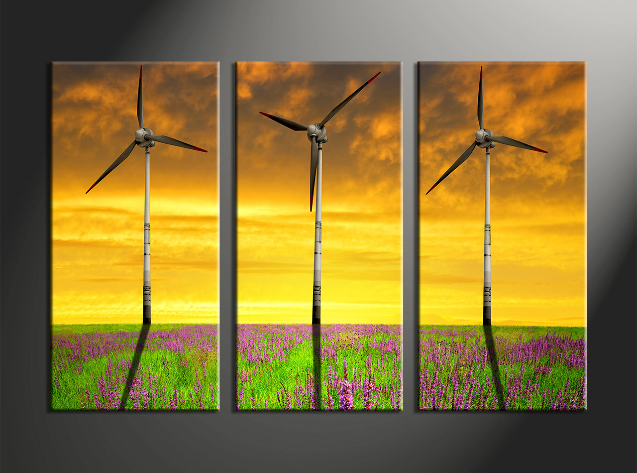 3 Piece Windmill Yellow Landscape Canvas Photography