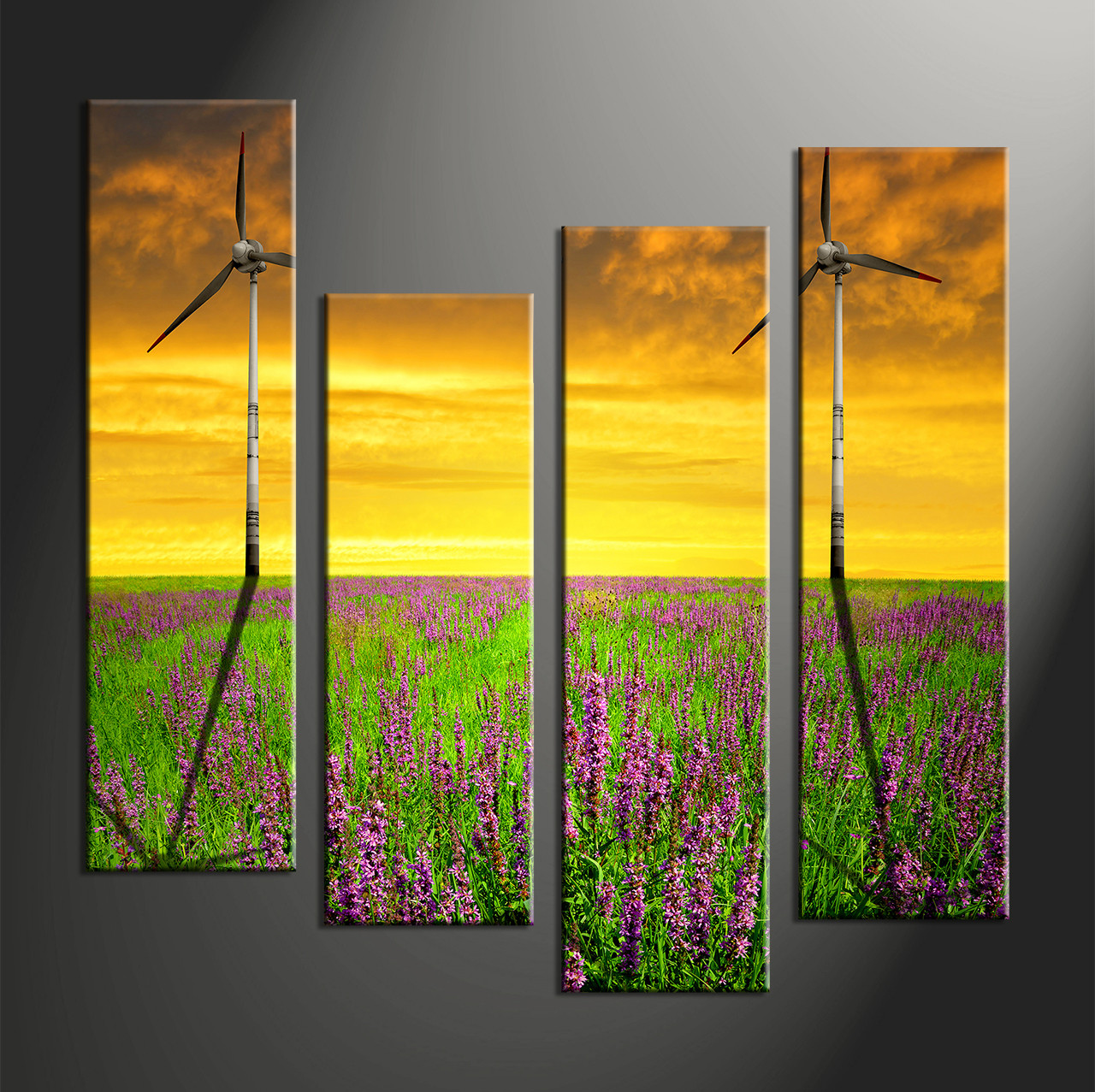 4 Piece Yellow Landscape Windmill Group Canvas