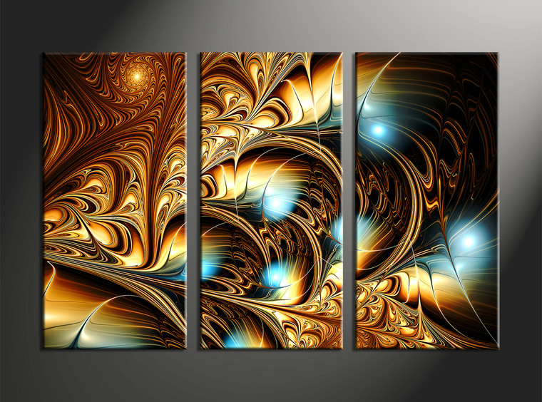 3pieces Modern Abstract Huge Wall Art Oil Painting On: 3 Piece Yellow Canvas Abstract Wall Art