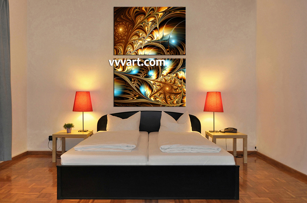 2 Piece Yellow Abstract Huge Canvas Art