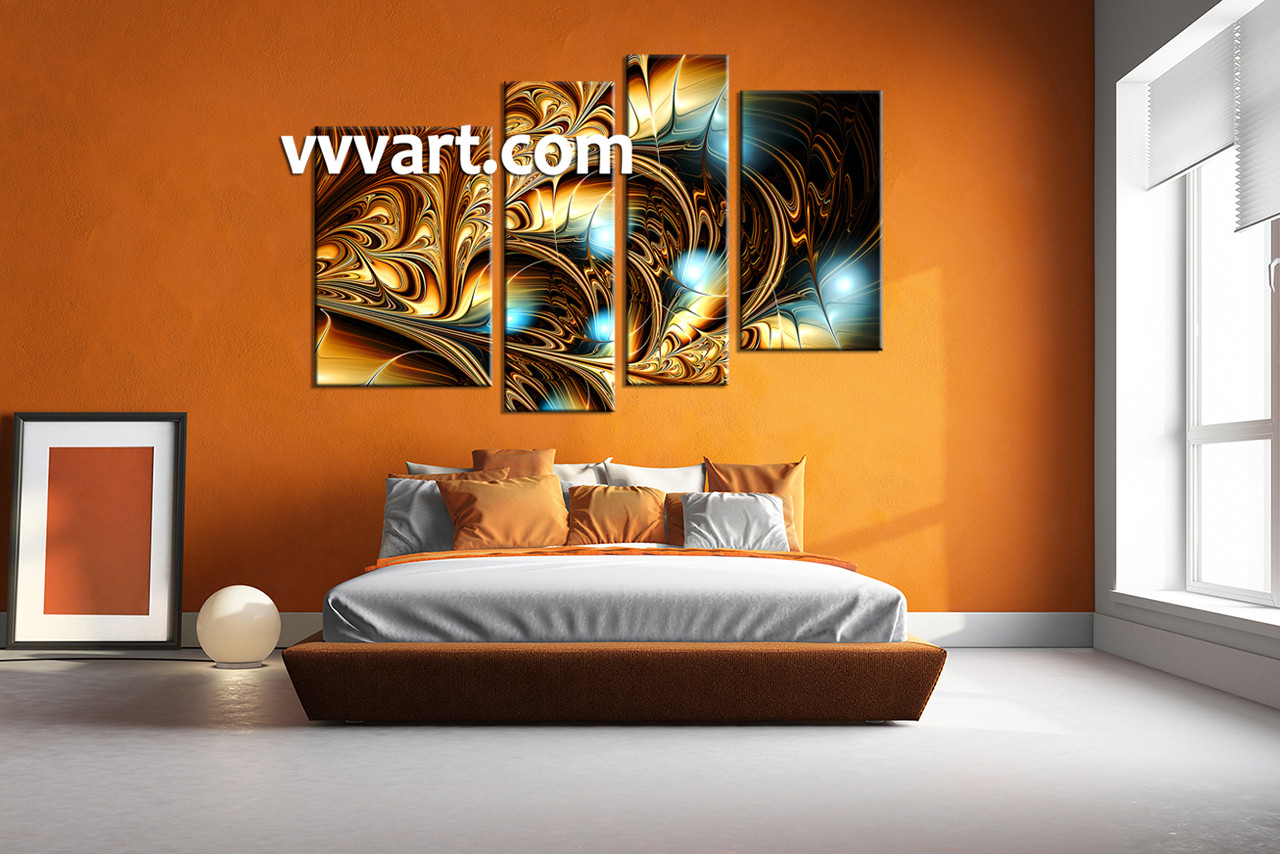 Beautiful Bedroom Wall Art,4 Piece Canvas Art Prints, Abstract Artwork, Abstract  Large Pictures