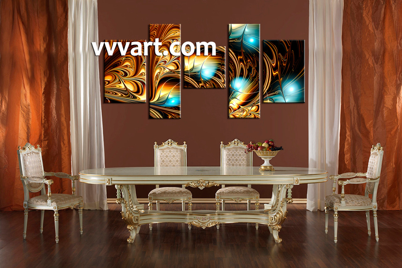5 piece yellow abstract multi panel canvas