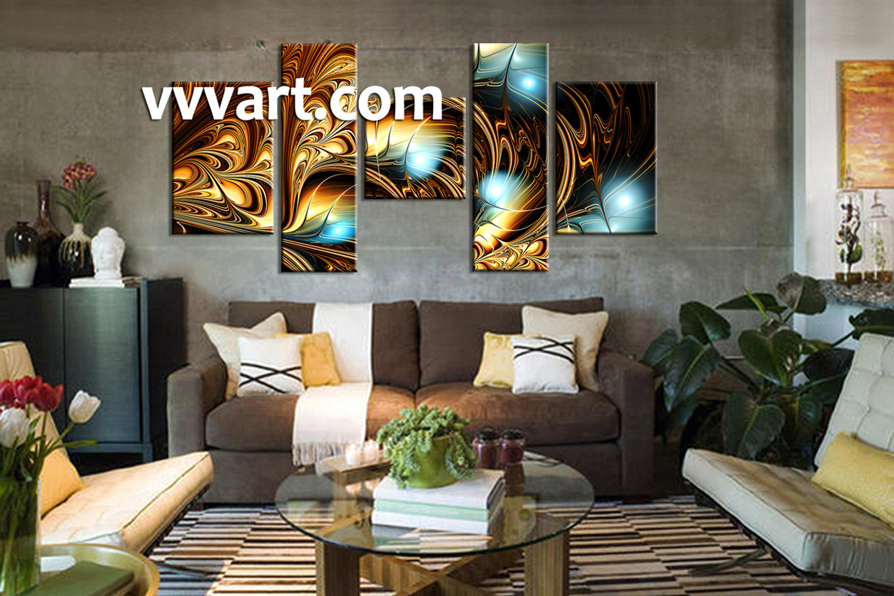 Living Room Wall Art, 5 Piece Wall Art, Abstract Huge Pictures, Abstract Art