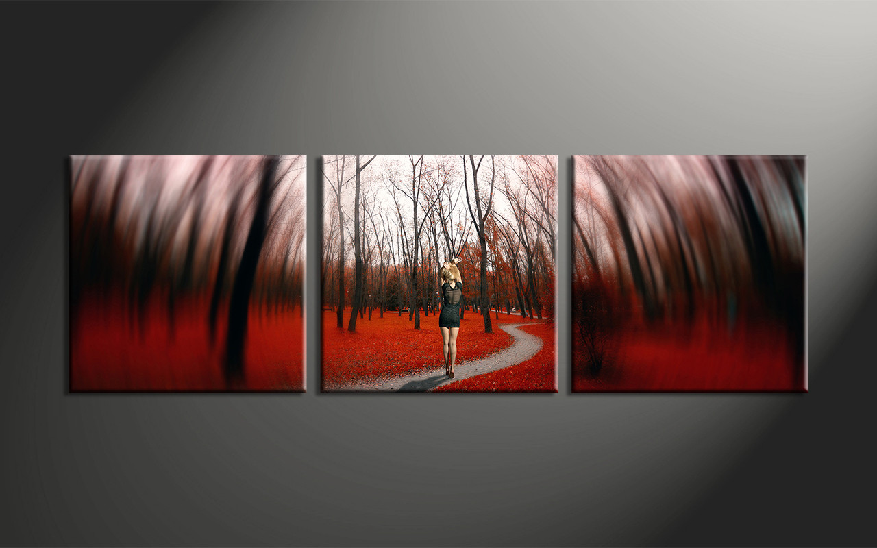 home decor piece canvas art prints forest canvas print autumn canvasprint.  piece modern red forest canvas artwork