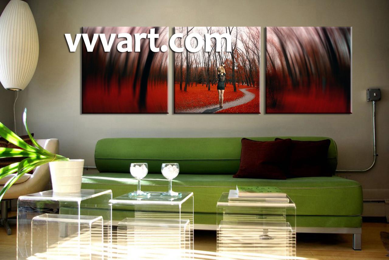 3 Piece Modern Red Forest Canvas Artwork