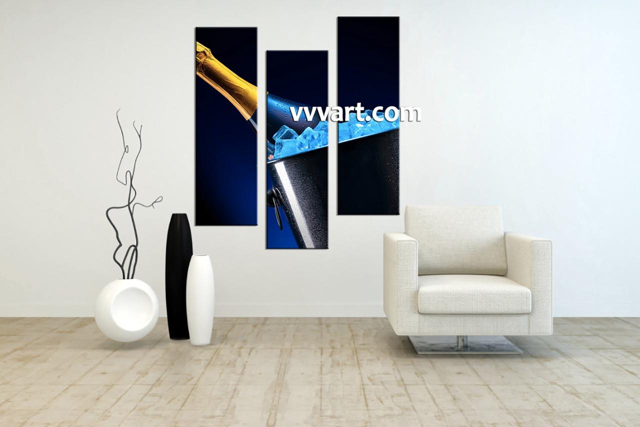 3 Piece Blue Canvas Modern Champagne Multi Panel Art