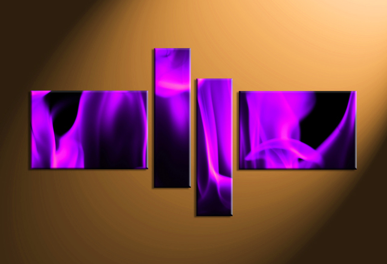 4 piece purple abstract canvas photography for Purple wall art