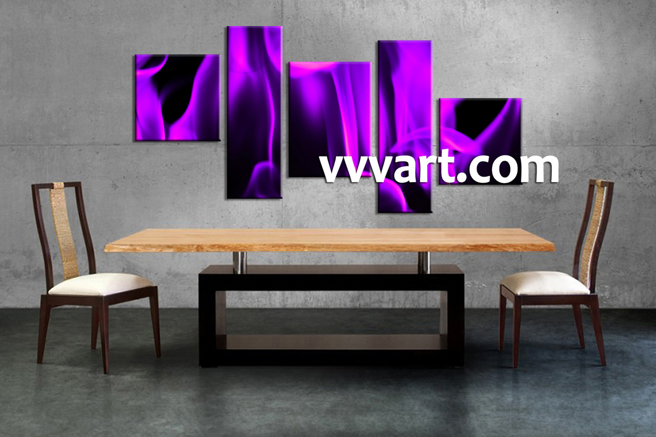 5 piece abstract purple multi panel canvas for Abstract art for dining room