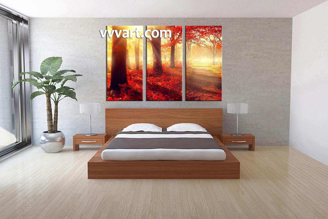 Multi Piece Canvas Wall Art 3 piece canvas red autumn scenery art