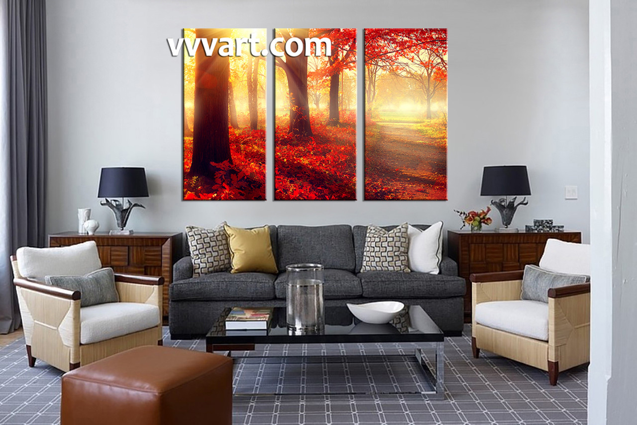 Nature Canvas Wall Art 3 piece canvas red autumn scenery art
