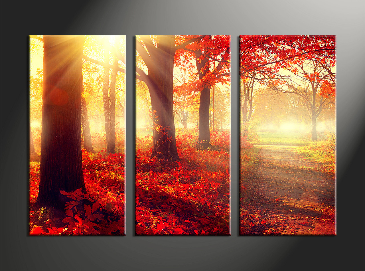 Multi Piece Canvas Wall Art 3 piece canvas red autumn scenery art