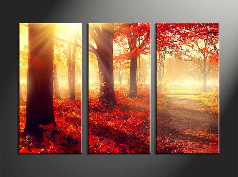 3 piece canvas red autumn scenery art for 3 piece wall art