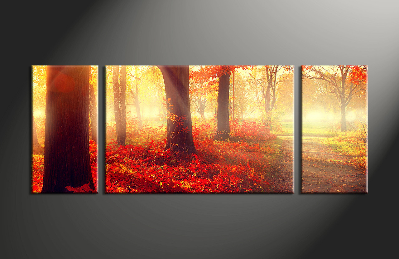 3 piece red autumn scenery canvas wall decor for Red wall art
